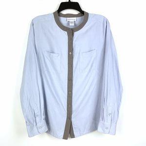Soft Surroundings Silk Button Front Shirt Blue